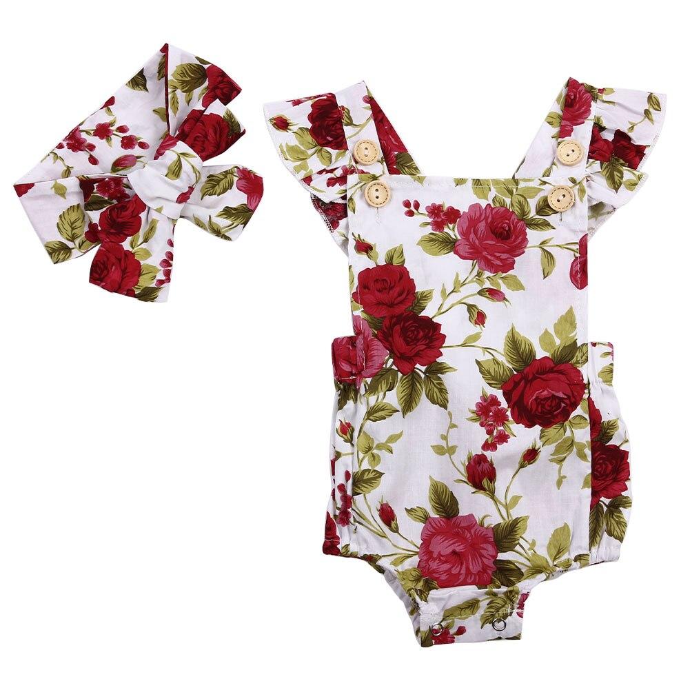 2PC बेबी गर्ल प्यारा पुष्प मुद्रित लगाम कपास बिना आस्तीन का रोमर और हेडबैंड कैजुअल आउटफिट लड़कियों के कपड़े सेट 6-24M