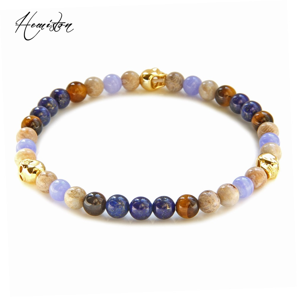 Thomas 6mm Colorful Material Mix Featuring Small Gold Color Skull Bead Bracelet, Stamp Glam Jewelry Soul Gift for Women TS B354
