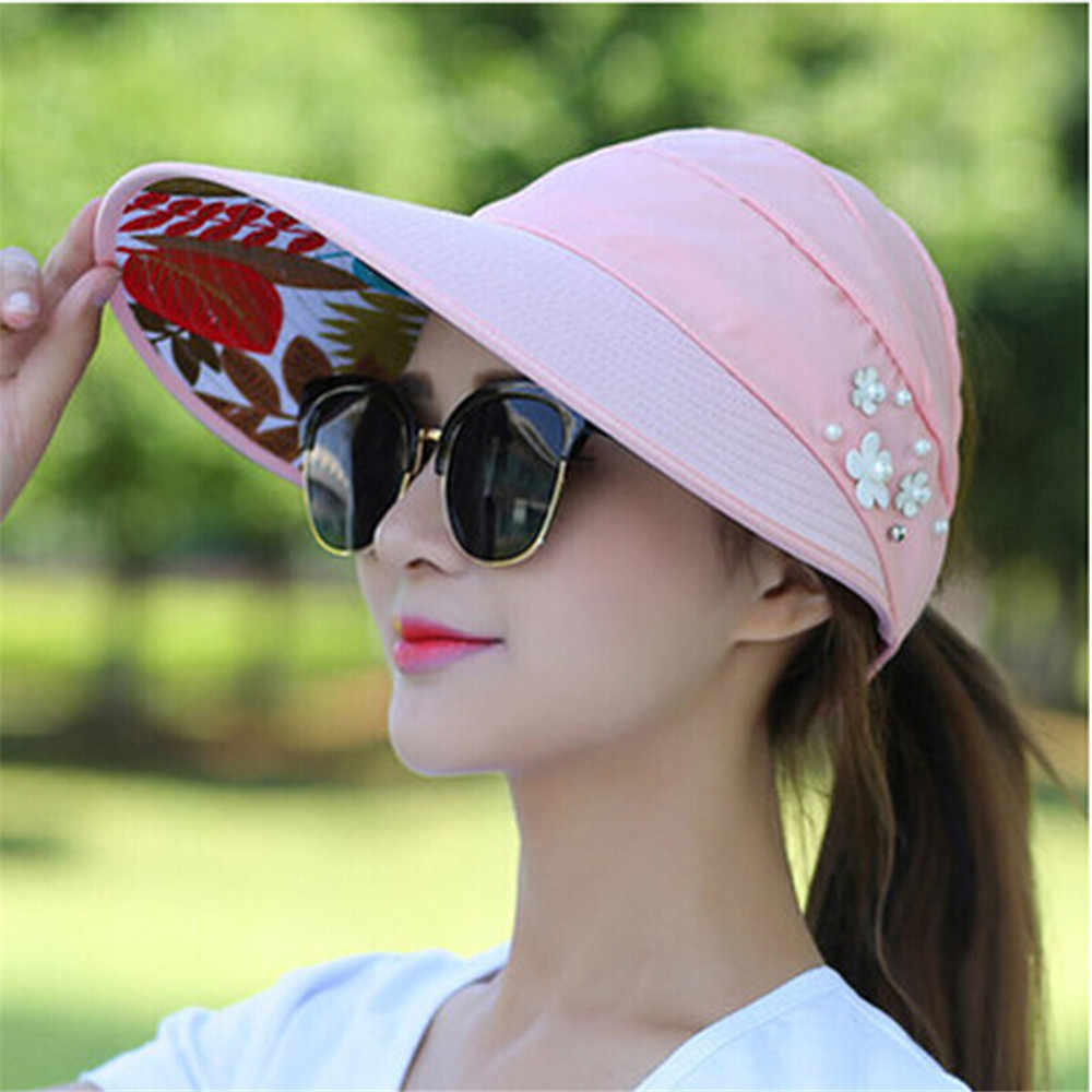 2019 Zomer Hoed vrouwen strand Zon Hoeden parel packable zonneklep hoed met grote hoofden brede rand UV bescherming vrouwelijke cap