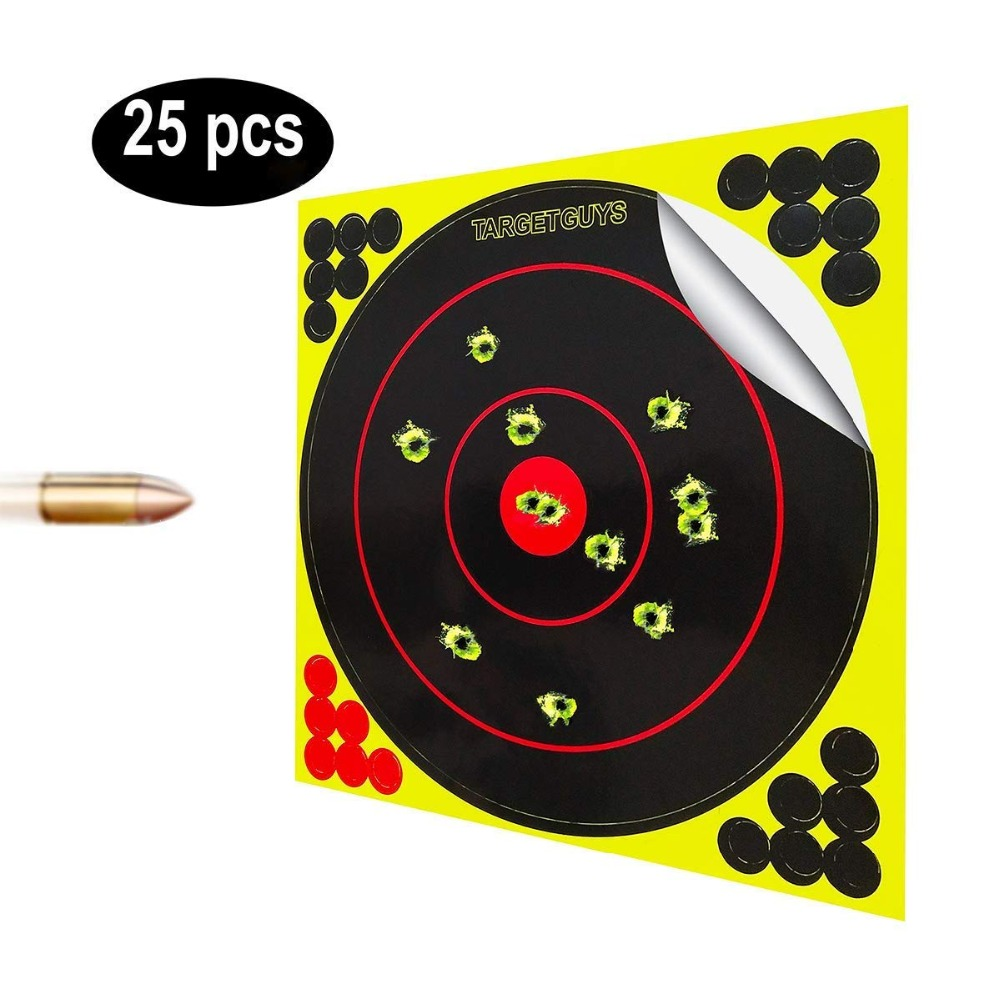 Tile & Sticker Shooting Targets 8 Inch Splatter Adhesive Reactive Paper Targets Fluorescent Yellow Upon Impact Gun Rifle 50pcs
