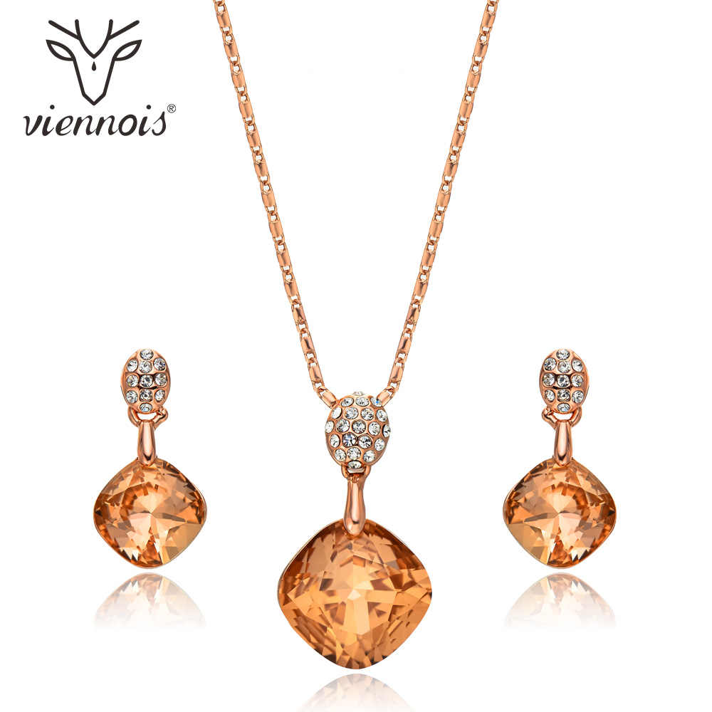 Viennois Orange Crystal Geometric Pendant Jewelry Sets For Women Trendy Rhinestone Stud Earrings Rose Gold Chain Necklace Sets