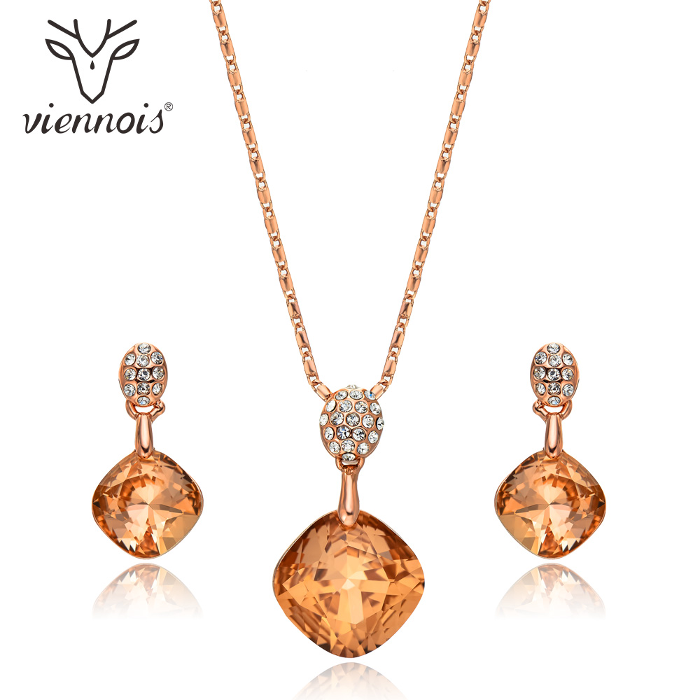 Viennois Orange Crystal Geometric Pendant Jewelry Sets For Women Trendy Rhinestone Stud Earrings Rose Gold Chain Necklace Sets pair of trendy filigree rose gold rhinestone leaf fringe earrings for women