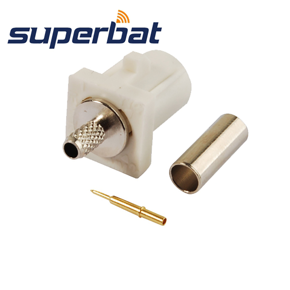 Superbat RF Coax Connector Fakra B White /9001 Crimp Plug Male Connector Radio With Phantom For Coaxial Cable RG316 RG174 LMR100