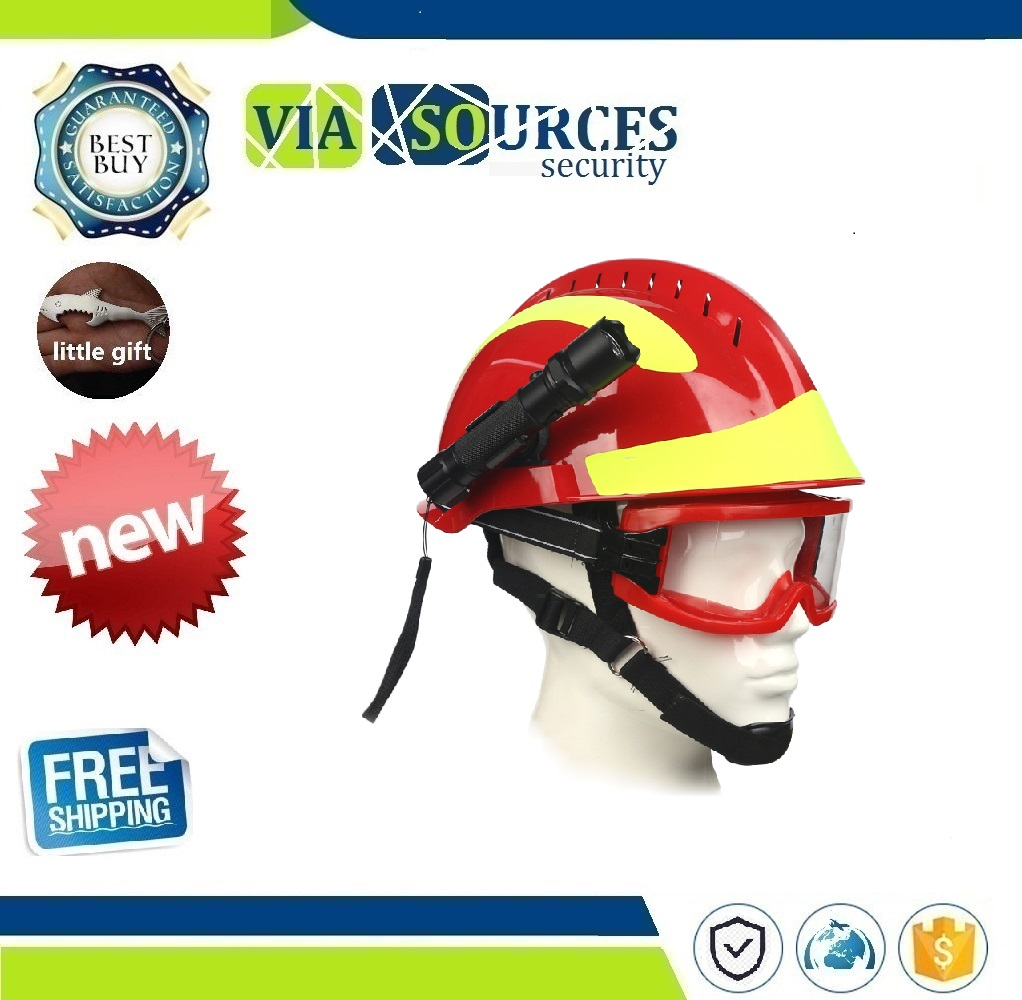 Safety Rescue Helmet Fire Fighter Protective Glasses Safety Helmets Workplace Fire Protection Hard Hat With Headlamp & Goggles