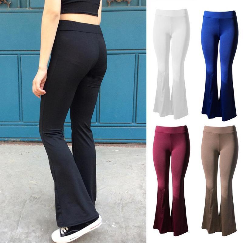 S M L Blue Stretchy Wide Leg Pants