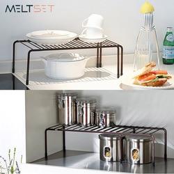 Adjustable Kitchen Storage Rack Metal Cupboard Storage Shelf Non-Skid Spice Rack Single Layer Kitchenware Organizer Saving Space