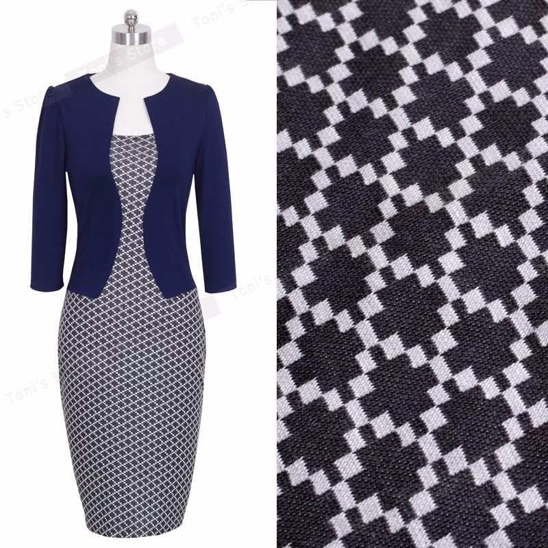 Nice-forever One-piece Faux Jacket Brief Elegant Patterns Work dress Office Bodycon Female 3/4 Or Full Sleeve Sheath Dress b237 24