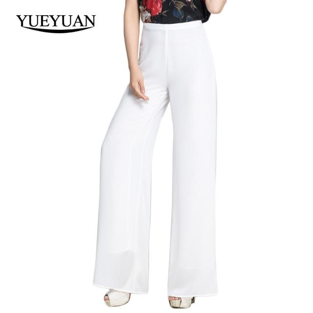 70a0710dbd88 Femmes En Mousseline de Soie Pantalon Taille Haute Zipper Fly Pantalon Large  de Jambe Occasionnels Solide