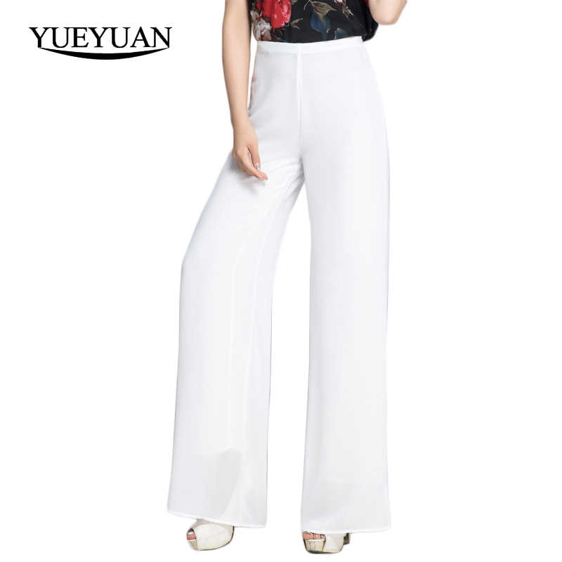 Women Chiffon Pants High Waist Zipper Fly Wide Leg Pants Casual Solid Color White Black Long Trousers For Spring Summer XS S 3XL