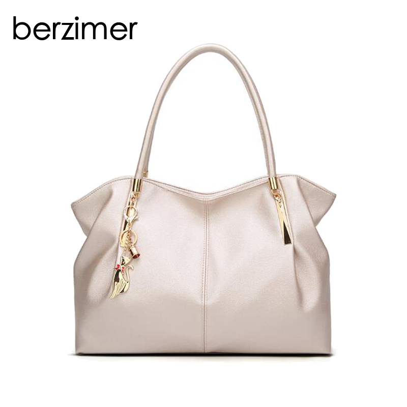 BERZIMER New Luxury Women Handbags Hobos Fashion Black White Champagne Wine Red Quality Shoulder Bags Tote Bags for Women Girls цена