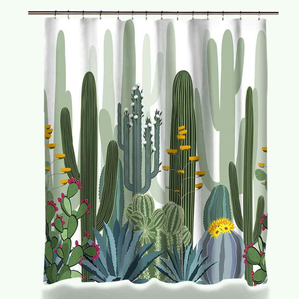 Miracille بوعاء العصارة الصبار النباتات الخضراء طباعة دش الستار البوليستر ستارة الحمام للماء مع النسيج 12 السنانير