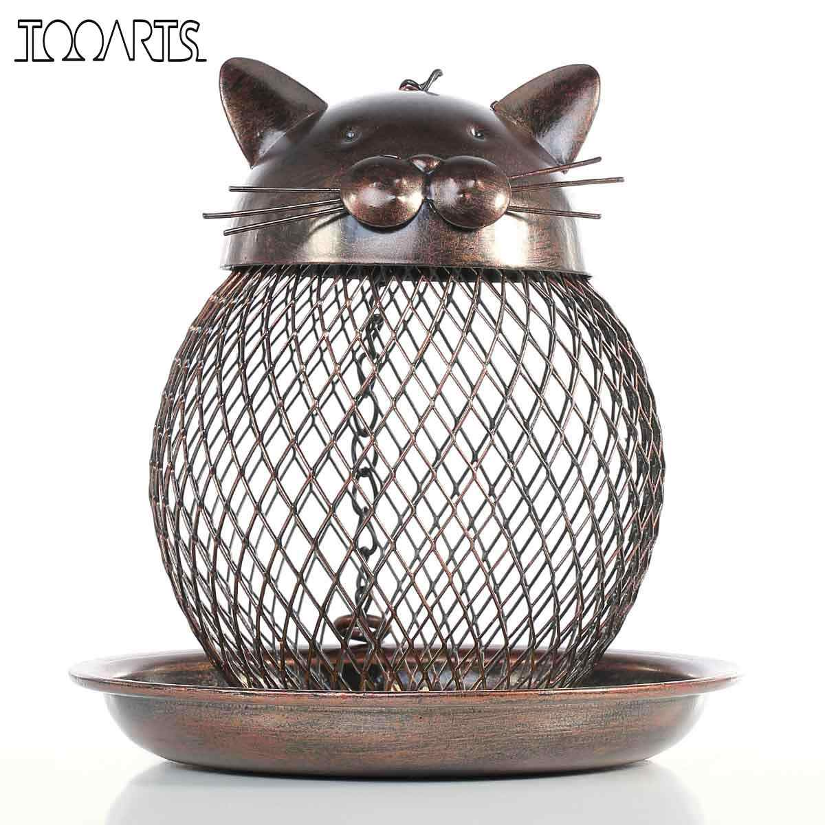 Tooarts Cat Shaped Bird Feeder Cat Shaped Vintage Handmade Outdoor Decoration Villa Garden Decoration Hanging Style Cast Metal