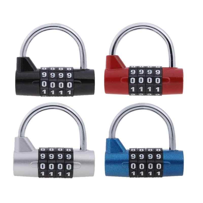 4 Digit Password Safety Lock Wide Shackle Combination Padlock for Gym Locker Drawer Luggage Cabinet Toolbox Door Lock