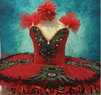 Child Ballerina Figure Skating Dress Red Adult Swan Lake Ballet Dance Clothing for Girls Pancake tutu