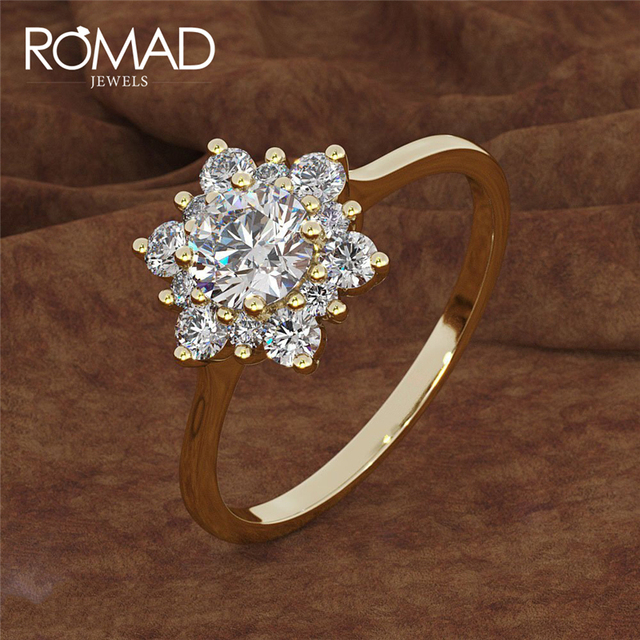 ROMAD אופנה פתית שלג לבן זירקון זהב צבע טבעת עבור נשים אירוסין חתונה לב פרח צורת תכשיטי מסיבת טבעות R35