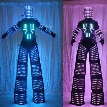 LED Robot Suits Luminous Robot Costume David Guetta LED Robot Suit illuminated kryoman Robot led Stilts Clothe led costume led clothing light suits led robot suits kryoman robot david guetta robot size color customized