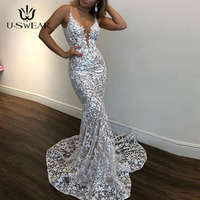 U SWEAR New Sexy Glamorous Deep V Neck Spaghetti Straps Trump Evening Dresses Lace Appliques Prom Party Dresses Formal Dresses