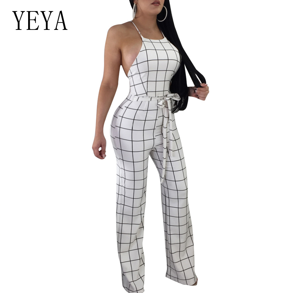 YEYA Summer Sleeveless Strap Backless Long Jumpsuits Women Plus Size Boot Cut Jumpsuit Casual Sexy Elegant Plaid Mujer Jumpsuits