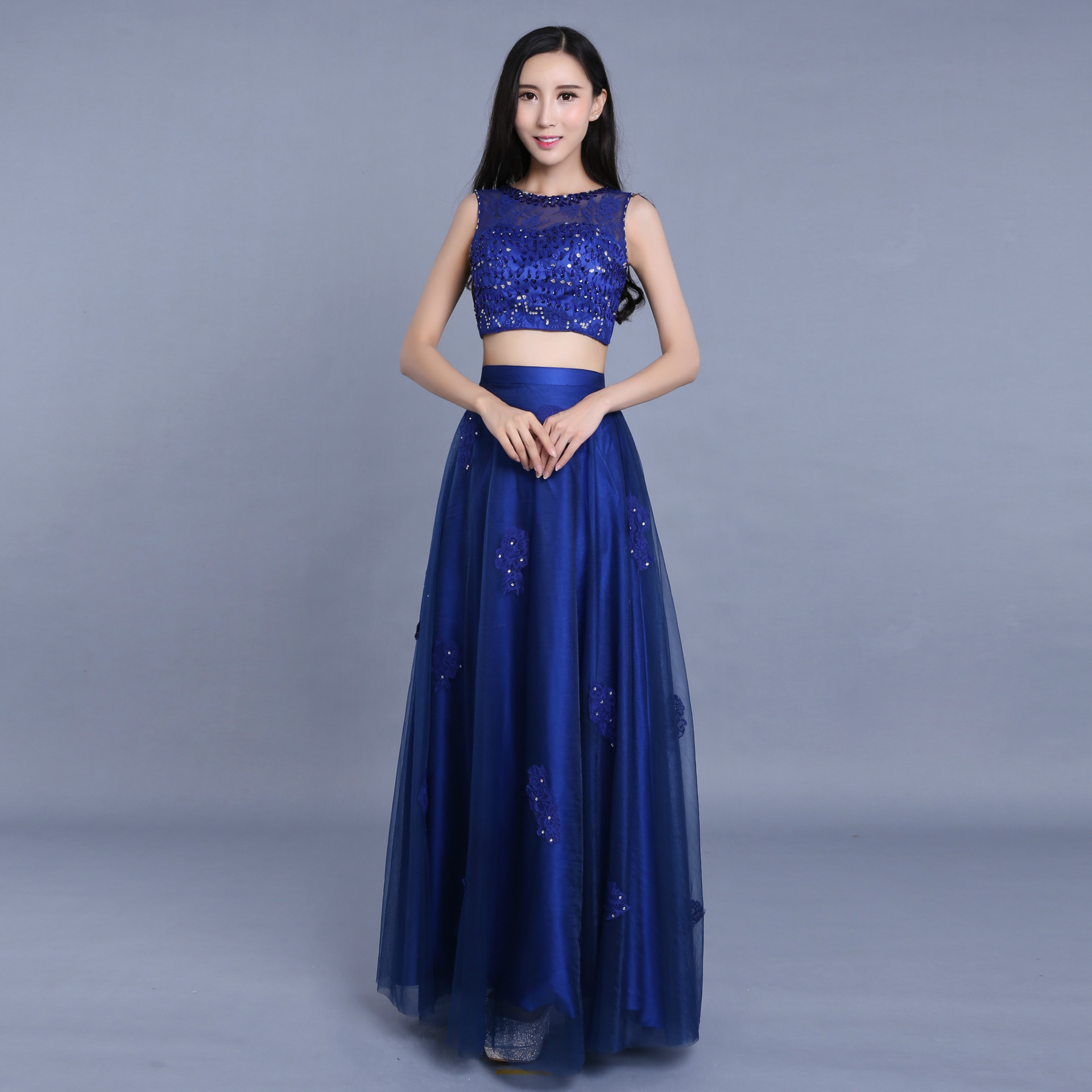Scoop Two-piece Royal Blue   Prom     Dresses   2019 Elegant Chiffon Beaded Long Evening   Dresses   Party Gowns Ilbies promettenti