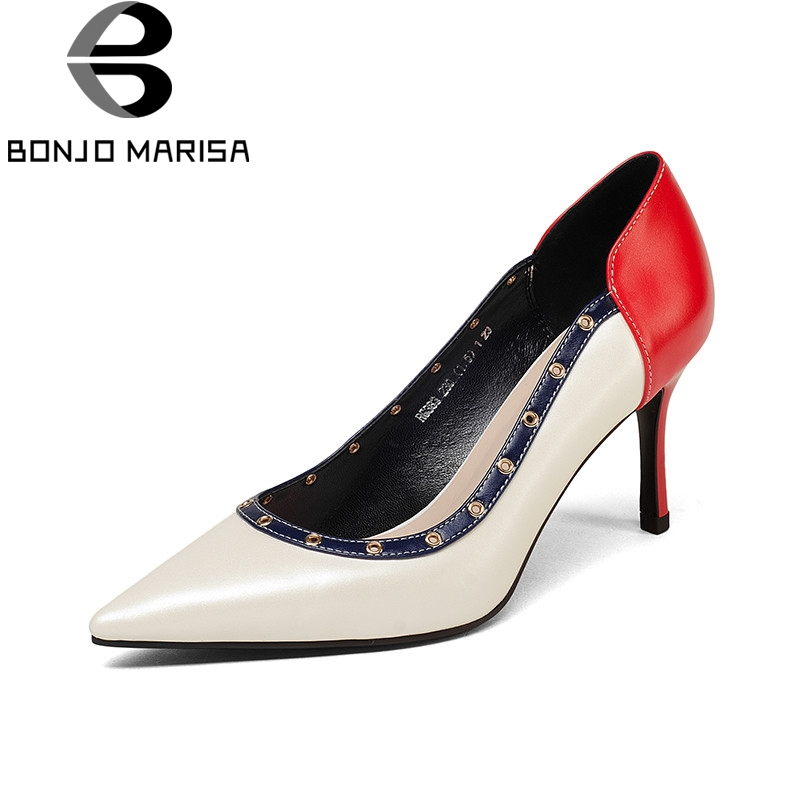 BONJOMARISA 2018 Spring Autumn Brand Cow Leather Women Pumps Fashion Sexy Red Shallow Shoes Woman slip