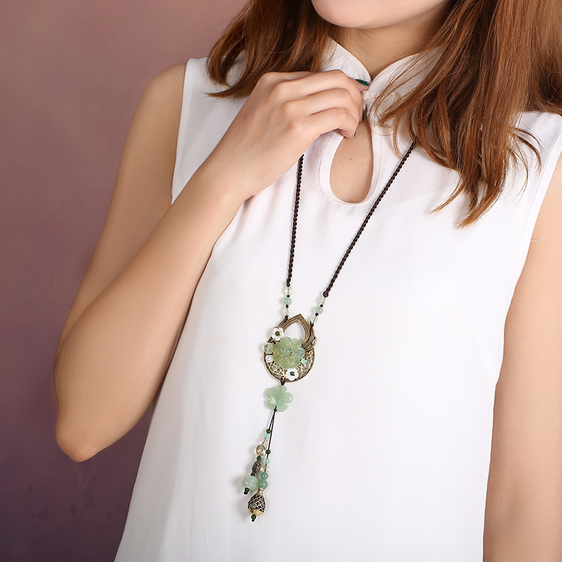 Ethnic necklace female sweater chain length necklace female models wild