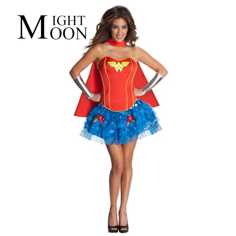 MOONIGHT Superman Wonder Woman Cosplay Costume Supergirl Costume Superhero Series Halloween Costumes for Adult Women