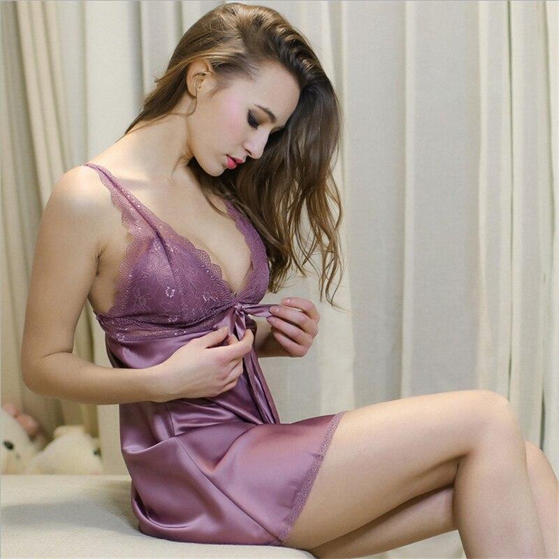#106 Ladies Sexy Silk Satin Night Dress Sleeveless Nighties V-neck Nightgown Nightdress Lace Sleepwear Nightwear Nightgown