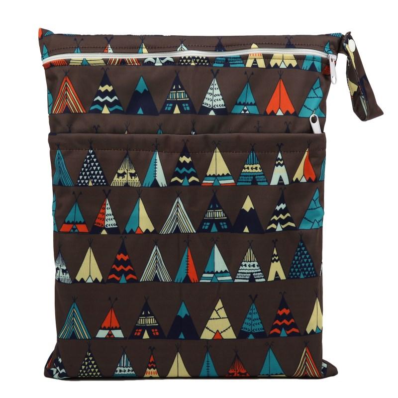 [Sigzagor] 1 Влажная сухая сумка с двумя молниями для детских подгузников, водонепроницаемая сумка для подгузников, розничная и, 36 см x 29 см, на выбор 1000 - Цвет: WH39 teepee