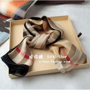 Bur mulberry silk silk scarf plaid long silk scarf autumn scarf female cape