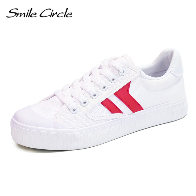 a45c8920603 Smile Circle 2017 Spring Summer style shoes women fashion Lace-up canvas  shoes for women casual platform shoes white