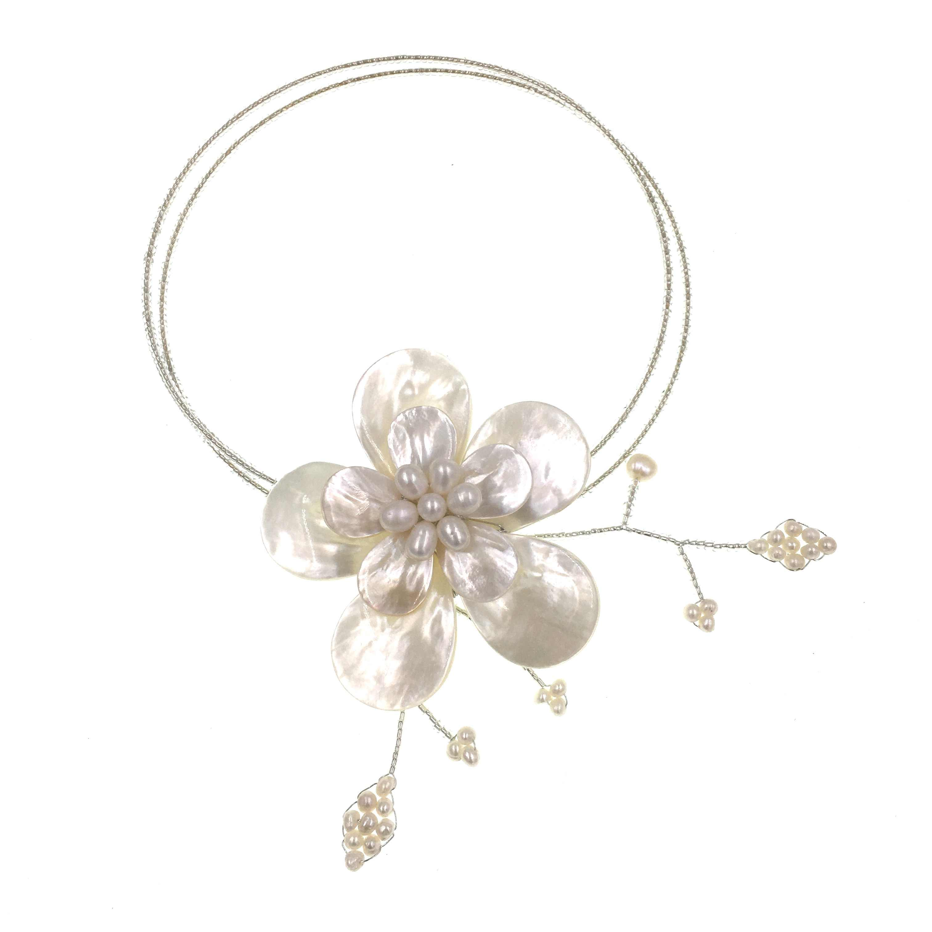 2019 New Trendy Retro Ethnic White Sea Shell Flower Seed Bead Choker Necklace Bijoux Femme Ladies Party Necklace