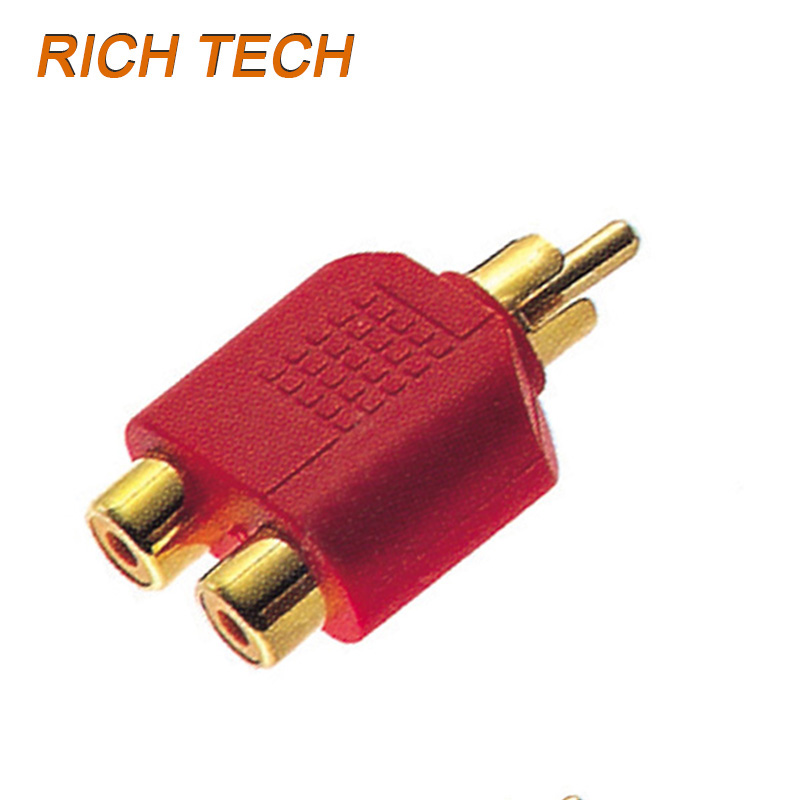 5PCS/LOT RCA PLUG TO 2RCA JACK GOLD(R,B,G,W,Y) CONNECTOR/ADAPTER FACTORY WHOLESALE FREE SHIPPING RICH TECH R1060