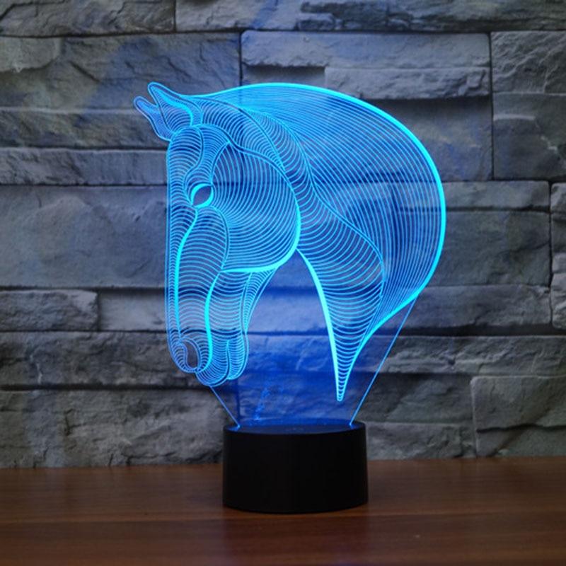 ความแปลกใหม่ม้า 3D ไฟกลางคืนสำหรับเด็กสัตว์โคมไฟ Led หลอดไฟ Led
