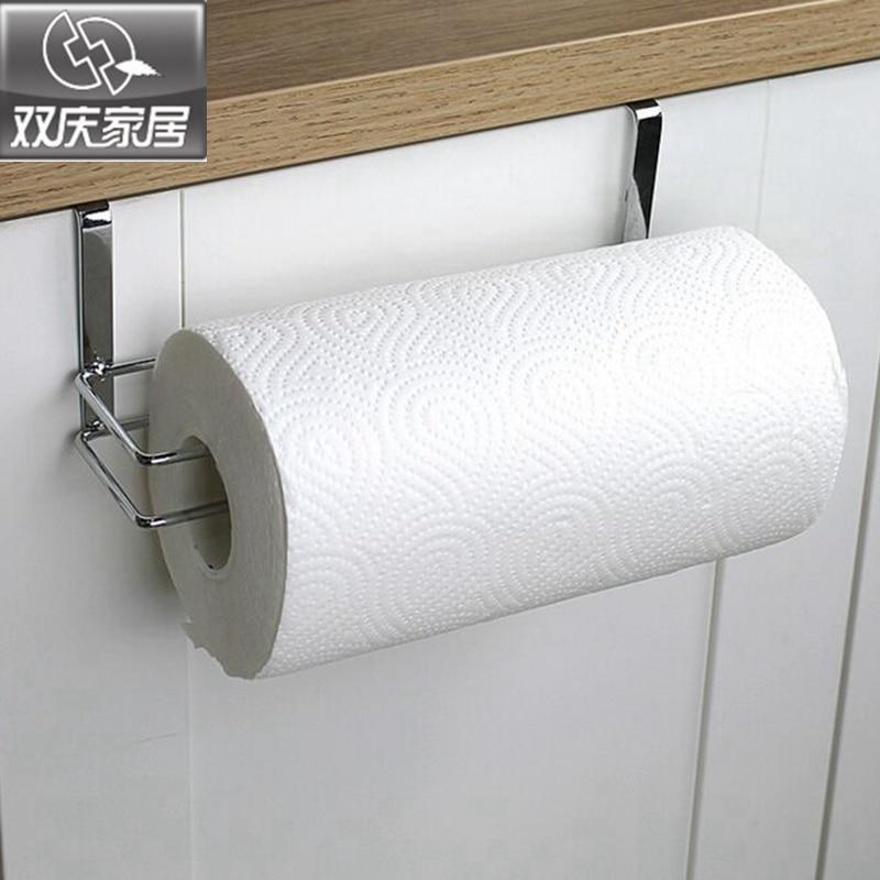 bathroom paper tube roll holder stainless steel door rack towel holder hanging on kitchen cabinet door