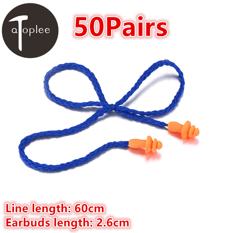 Wholesale 50Pairs Reusable Soft Silicone Corded Ear Plug Home Noise Reduction Earplugs Hearing Protect Safety Earmuffs soft silicone corded ear plugs ears protector reusable hearing protection noise reduction earplugs earmuff