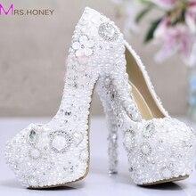 Weiße Perle Kristall Braut Hochzeit Fersen Debütantin Ball Partei Schuhe mit hohen absätzen Strass Plattform Erstaunliche Pumpen