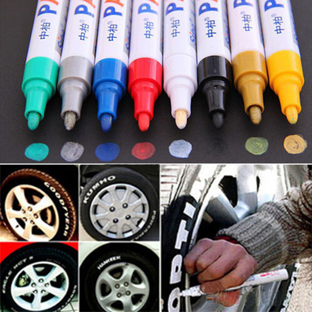 larath new 1pc universal white car motorcycle whatproof permanent tyre tire tread rubber paint. Black Bedroom Furniture Sets. Home Design Ideas