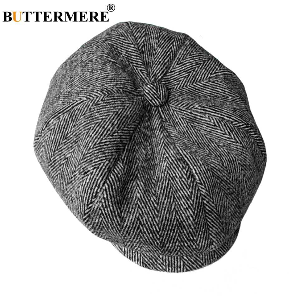 a2c5ed53 BUTTERMERE Herringbone Octagonal Caps Men Wool Gray Newsboy Cap Vintage Male  Painter Hat Classic Autumn Eight