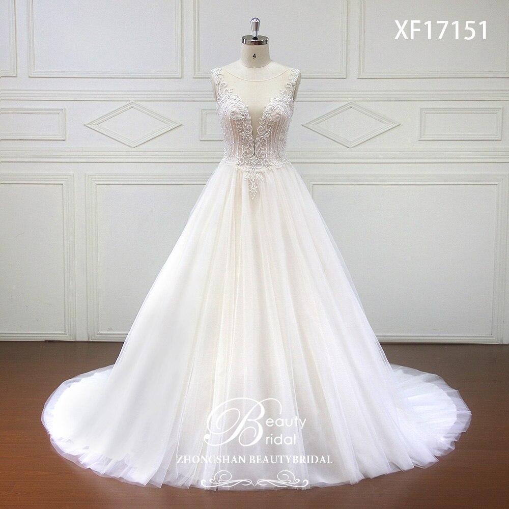Haut de gamme fait sur mesure Profonde V de Mariée Boho robe de mariage 2019 Perles Cristal robes de mariage Cour Train robes de noiva XF17151