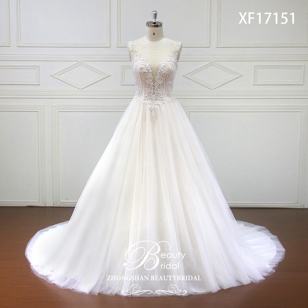 High End Custom Made Deep V Bridal Boho Wedding Dress 2019 Beads Crystal Wedding Dresses Court Train Vestidos De Noiva Xf17151