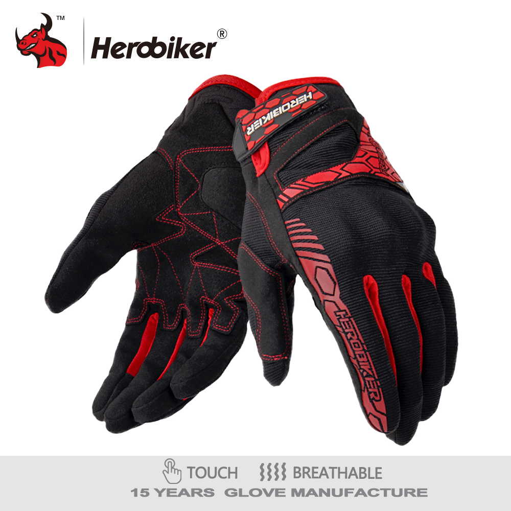 HEROBIKER Motorcycle Gloves Motorcycle Gant Moto Touch Screen Motocross Gloves Breathable Racing Riding Motorbike Gloves Guantes