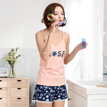 Hot Selling Summer Women Tanks&Camis Cotton Pajamas Sets Women's Sleepwear Lovely Floral Shorts Sexy Girl Pajamas Home Clothing
