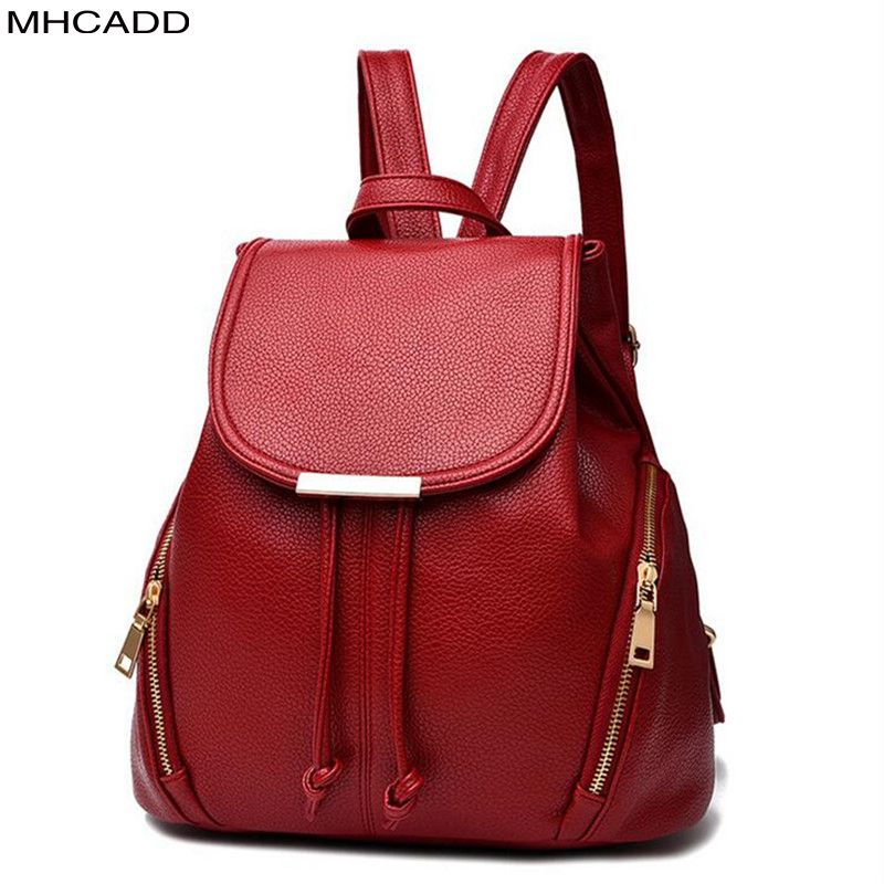 MHCADD New High Quality Women Backpack PU Leather School Bags For Teenagers Girls Backpacks Herald Fashion Mochila Feminina zhierna brand women bow backpacks pu leather backpack travel casual bags high quality girls school bag for teenagers