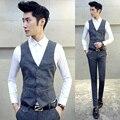 Terno 2016 5XL-M Homme Maillot Traje A Rayas Conjunto de Gran Tamaño de Corea Slim Fit Mens Trajes de Novio Vestido de Traje de Boda de Los Hombres de Negocios de Lujo
