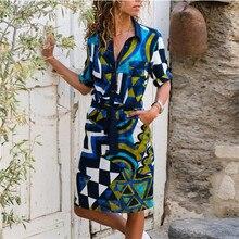 Long Sleeve Shirt Dress  Chiffon Boho Beach Dresses Women Casual Striped Print Party Vestidos блузка женская