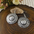 2014 New Arrival Bohemia Tibet Jewelry Tibetan Silver Vintage Round Pendnat Retro Drop Earring 1pair for Women Hot MK-013