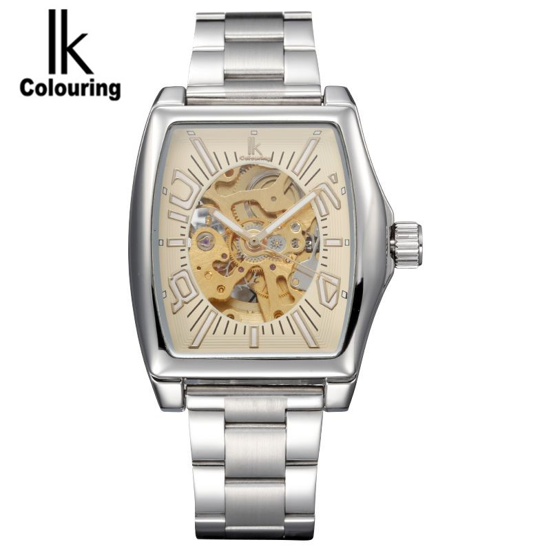 IK Luxury Square Stainless Steel Men automatic Mechanical Watch Skeleton Watch For Men's Dress Wristwatch Free Ship ik luxury fashion casual stainless steel men automatic mechanical watch skeleton watch for men s dress wristwatch free ship