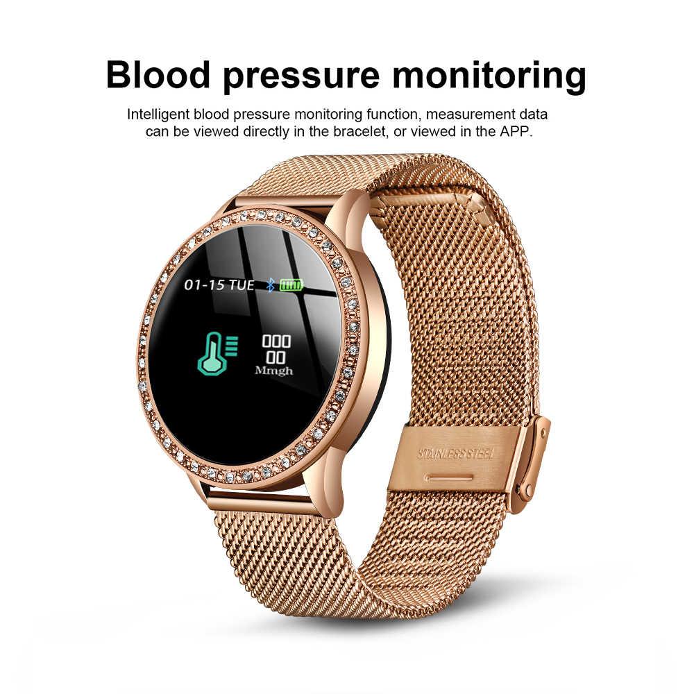 Smart Watch Wanita Tahan Air Smartwatch dengan Monitor Detak Jantung Tekanan Darah Kebugaran Gelang untuk iPhone Ios Android Jam Tangan