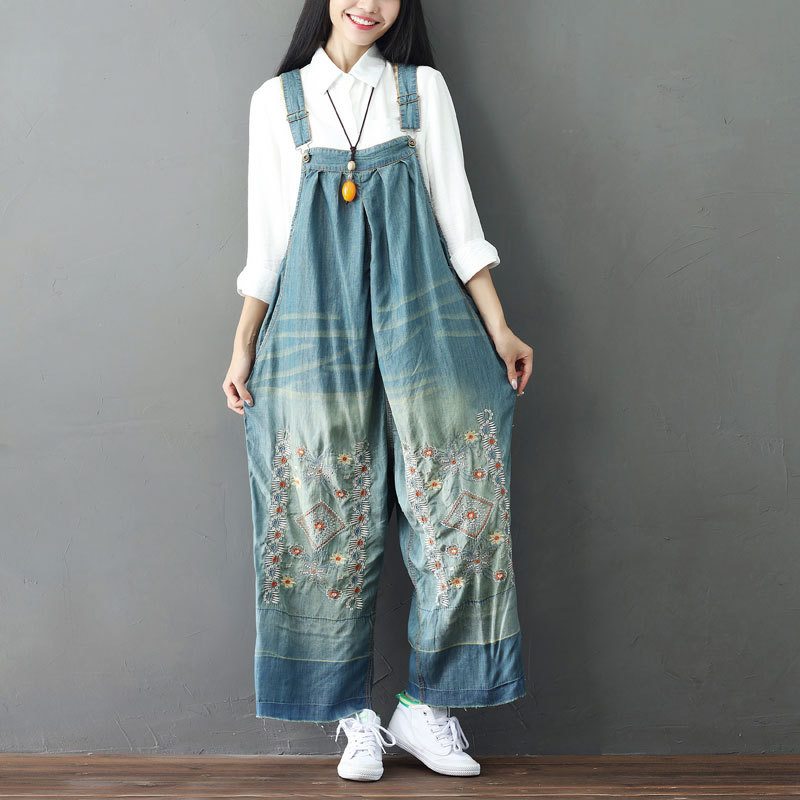 Johnature Denim Jumpsuits Plus Size 2019 New Summer Embroidery Floral Vintage Blue Pockets Wide Leg Casual