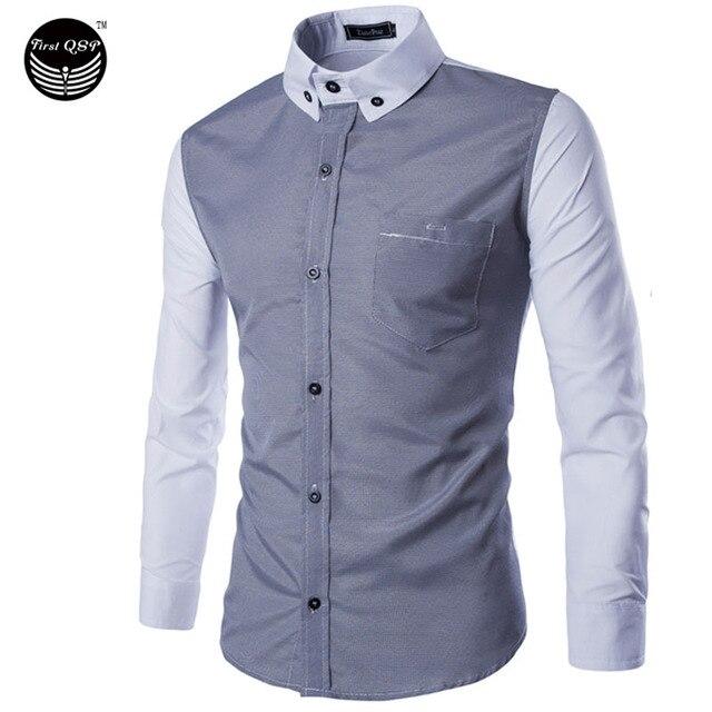 Marca 2016 Camisas de Vestir Para Hombre Slim Fit Camisas